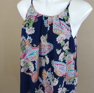 DNA Couture Navy Floral Paisley Tank Top Sz Large